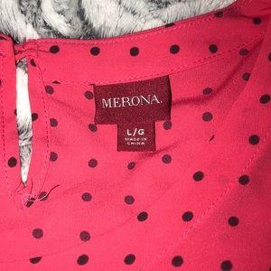 Pink blouse black polka dot L Merona